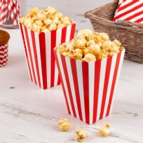 Carnival Red Popcorn Boxes - Stripes (8)
